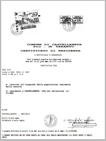 richiedere certificato di residenza online