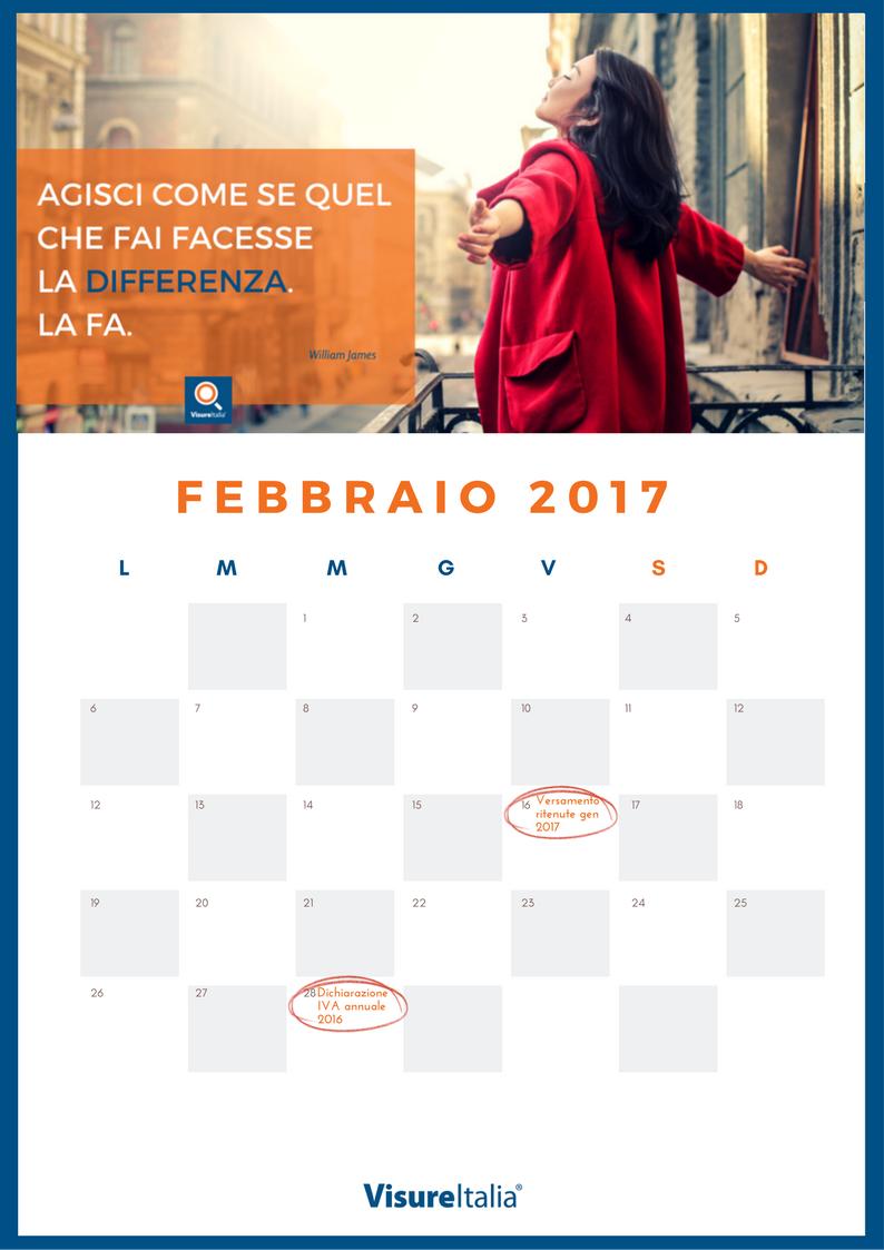 Scadenze Fiscali Febbraio: il calendario 2017