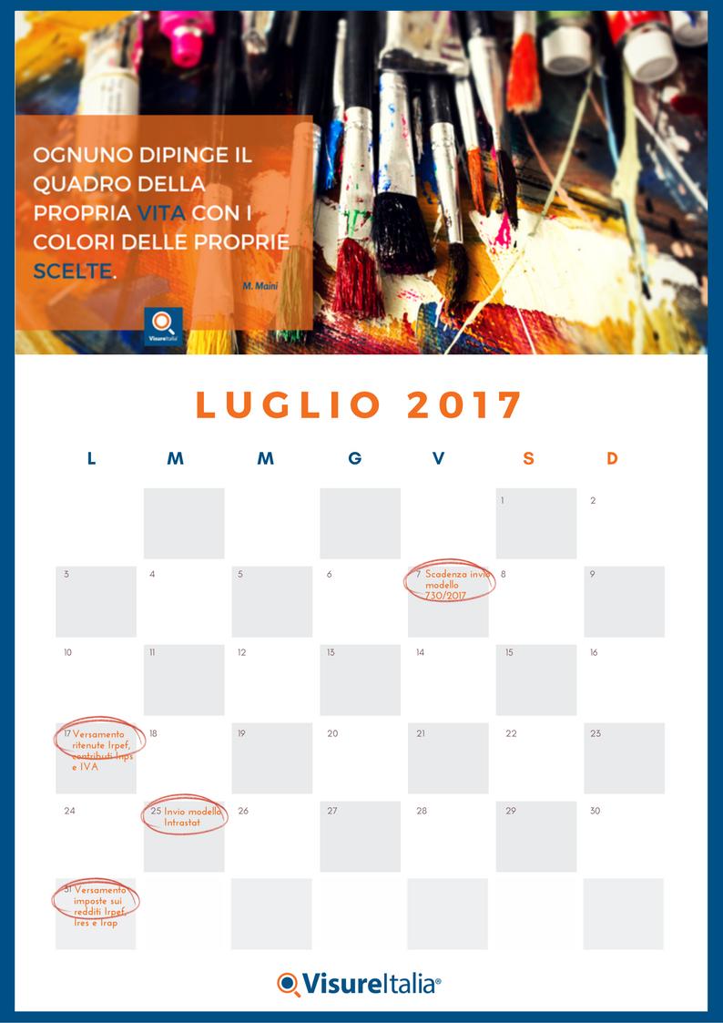 Il Calendario Delle Scadenze Fiscali Luglio 2017