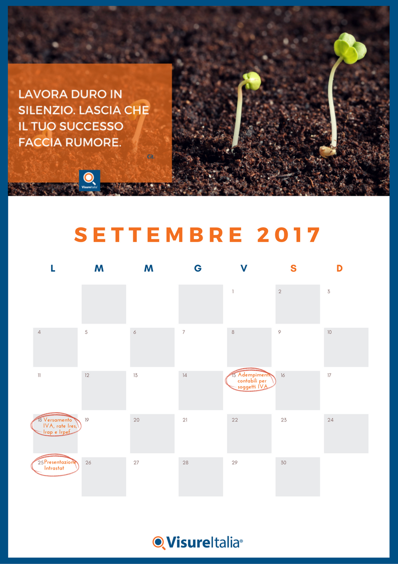 Il calendario delle scadenze fiscali settembre 2017