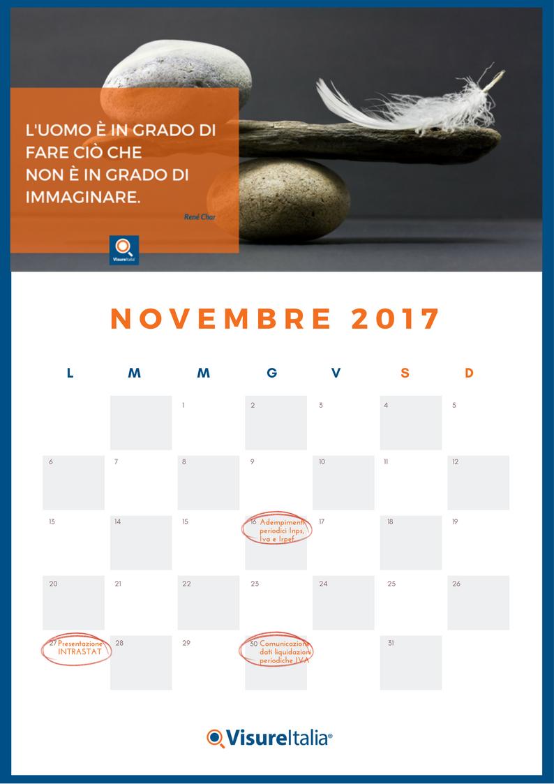 Calendario fiscale di novembre gli adempimenti del mese for Irpef 2017 scadenze