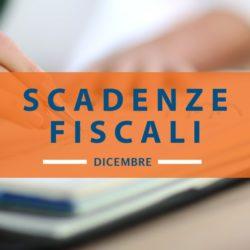 Calendario delle scadenze fiscali dicembre 2019